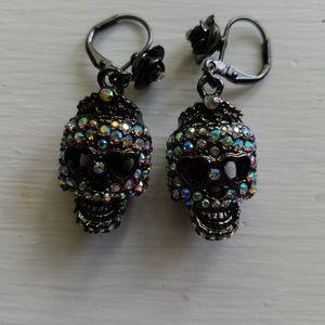 Betsey Johnson crystal-covered gunmetal skull earr
